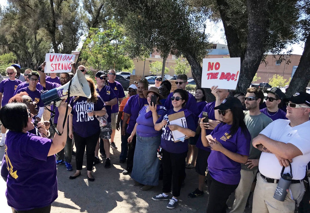 Members of the Service Employees International Union picket outside the Las Vegas Review-Journal on Tuesday, June 19, 2018 in Las Vegas. The SEIU reached an agreement with the Las Vegas Convention ...