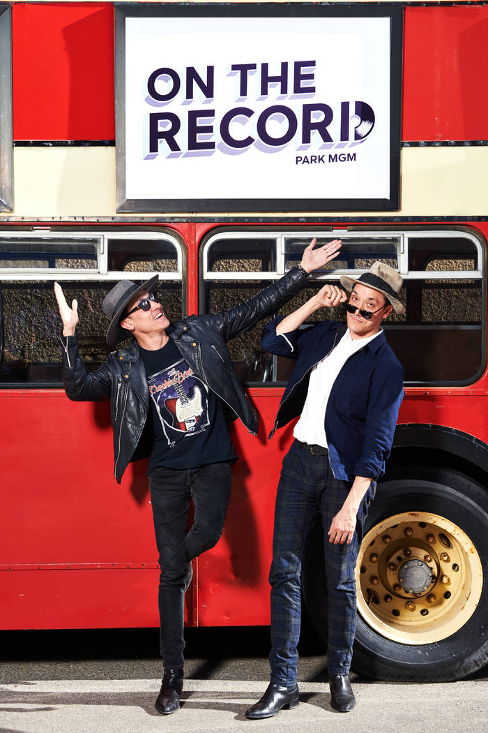Jonnie and Mark Houston are shown on the 1963 Bristol Lodekka passenger bus being converted into a DJ booth for their new Strip nightspot, On The Record, set to open New Year's Eve at The Park MGM ...