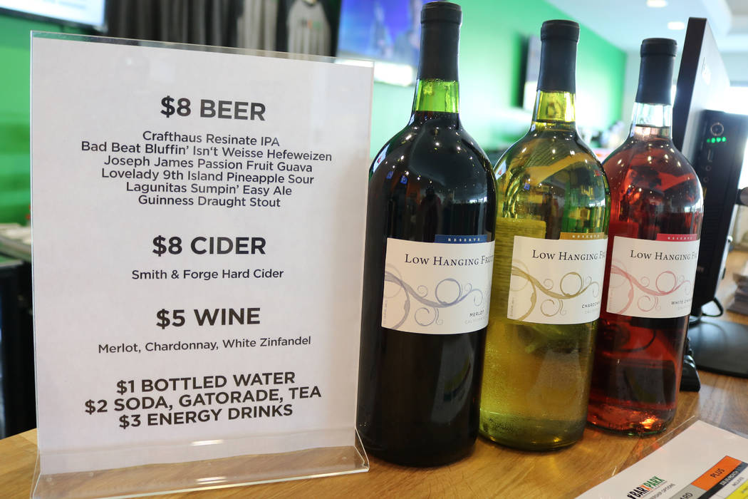 A selection of wine at Barx Parx, a new indoor dog park, in Henderson on Saturday, July 7, 2018. (Rochelle Richards/Las Vegas Review-Journal) @RoRichards24