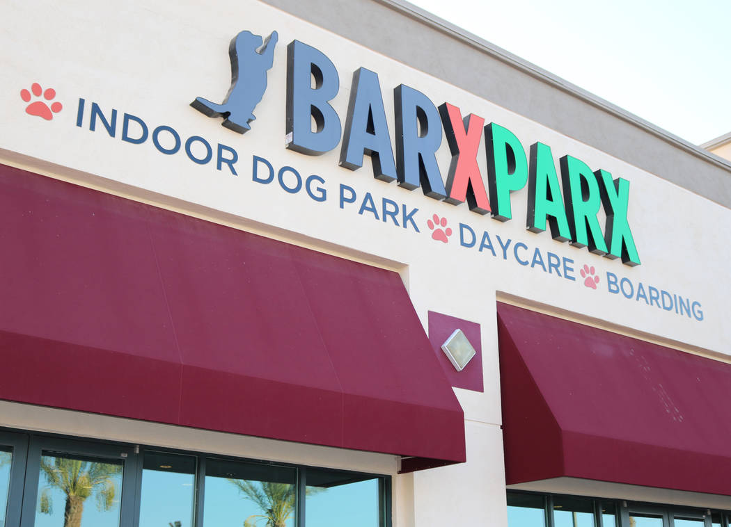 The outside of Barx Parx, a new indoor dog park, in Henderson on Wednesday, July 4, 2018. (Rochelle Richards/Las Vegas Review-Journal) @RoRichards24