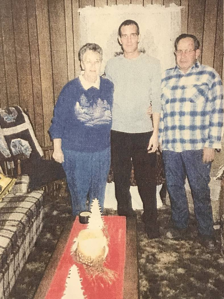 "Jasen ""Griffin"" Greene, center, is shown in a photo obtained through Clark County District Court's evidence vault. Greene was killed by Scott Dozier in 2001. (Clark County District Court)"