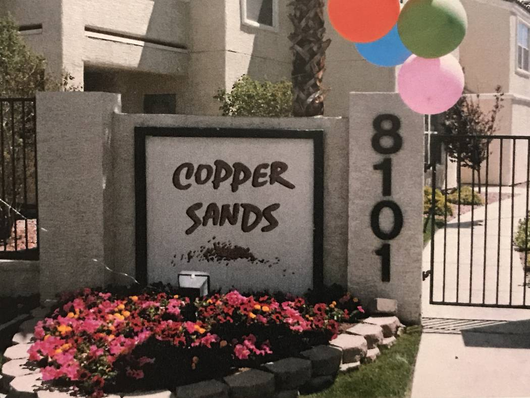 An exterior of the Copper Sands apartment complex in the 8100 block of West Flamingo Road is shown in a photo obtained through Clark County District Court's evidence vault. Jeremiah Miller's torso ...