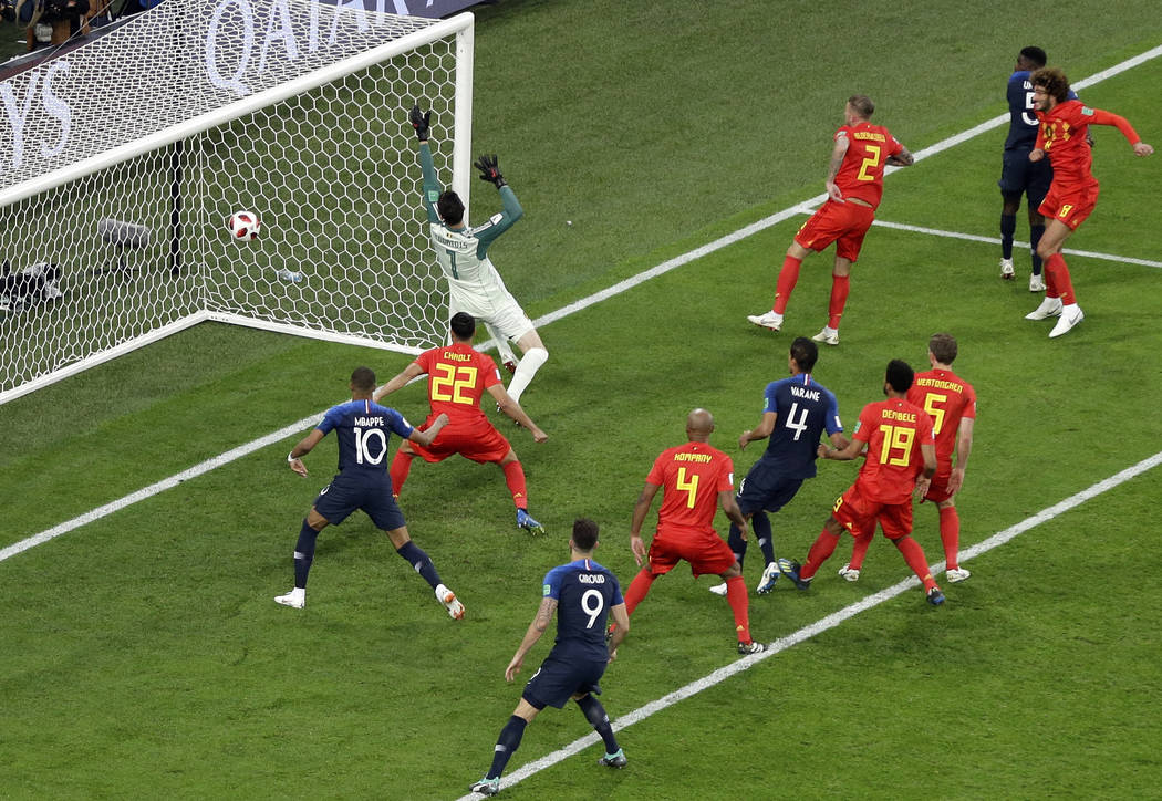 Frances Samuel Umtiti Nd Right Scores The Opening Goal During The Semifinal Match Between