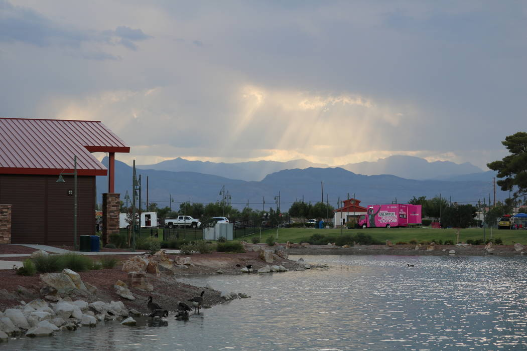 A view of the sun breaking through the clouds at the inaugural Slides, Rides & Rock and Roll event at Craig Ranch Regional Park in North Las Vegas, Saturday, July 14, 2018. Hundreds of familie ...