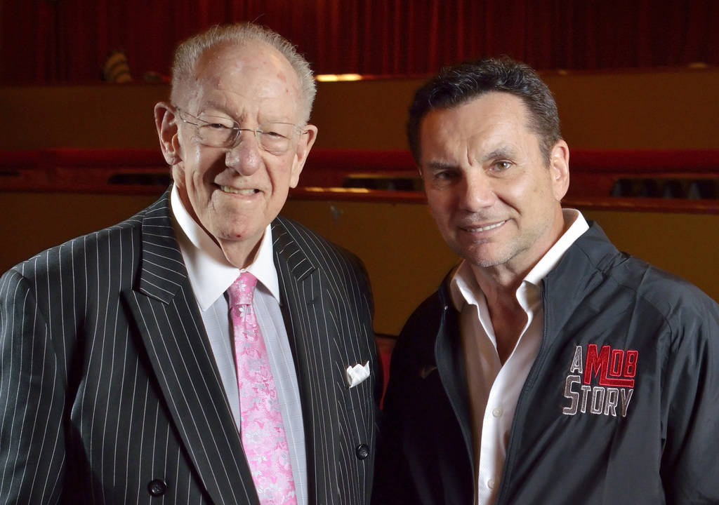 Former Las Vegas Mayor Oscar Goodman, left, and Michael Franzese, a reformed ex-mobster with the Columbo crime family, are shown in the Plaza Showroom on Friday, May 4, 2018. (Bill Hughes/Las Vega ...