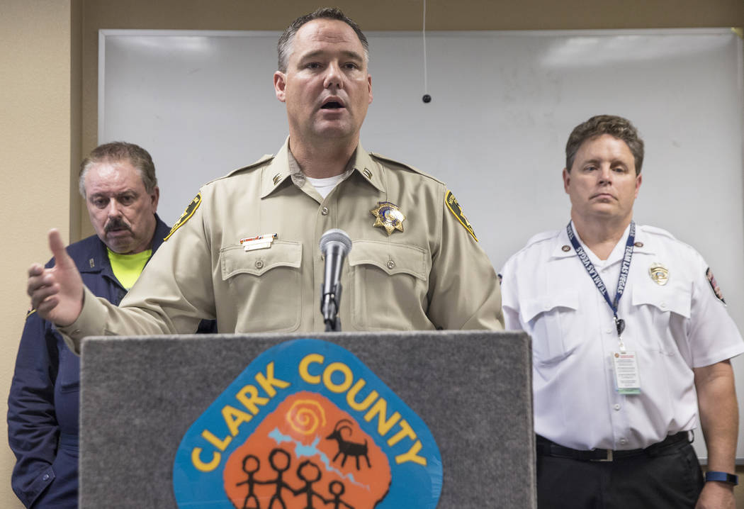 Captain Todd Raybuck discusses Metro's efforts to combat illegal fireworks during the Fourth of July on Thursday, July 5, 2018, during a press conference at Clark County Fire Station 22, in Las Ve ...