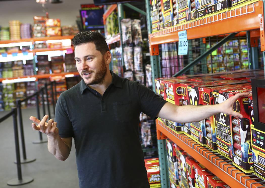 Douglas Burda, CEO of Red Apple Fireworks, talks at his store in Pahrump on Thursday, July 5, 2018. Chase Stevens Las Vegas Review-Journal @csstevensphoto
