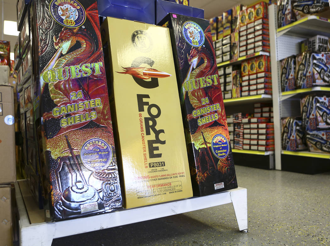 G-Force fireworks, featuring canister shells, were a popular item for 4th of July at Blackjack Fireworks in Pahrump on Thursday, July 5, 2018. Chase Stevens Las Vegas Review-Journal @csstevensphoto