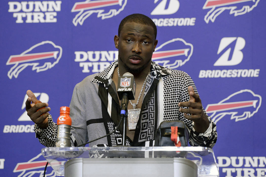 In this Sept. 24, 2017, file photo, Buffalo Bills running back LeSean McCoy talks to reporters after an NFL football game against the Denver Broncos, in Orchard Park, N.Y. (AP Photo/Adrian Kraus, ...