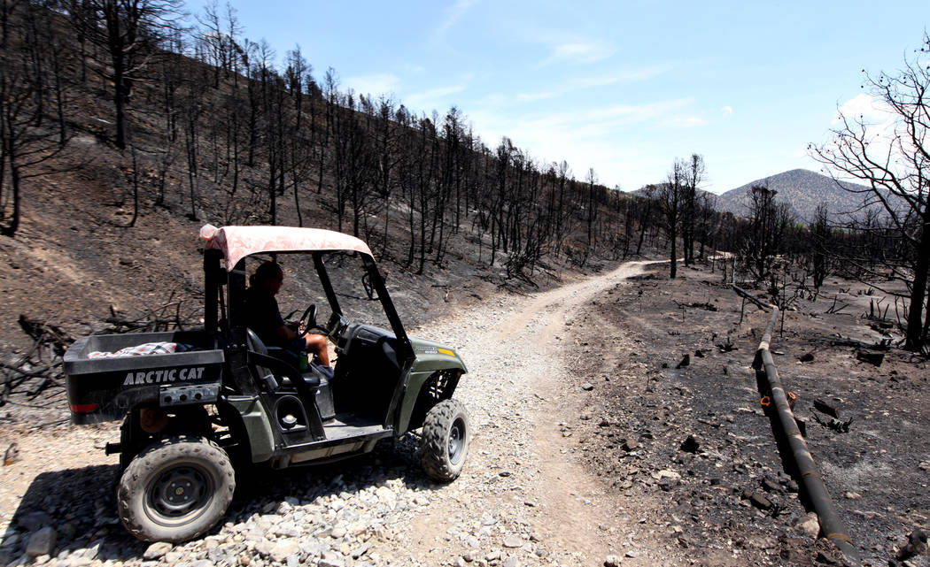 Don Kubinski, a Trout Canyon resident, drives his atv near a break in the water line that supplies the roughly 20 residents of Trout Canyon with water in Trout Canyon on Tuesday, July 16, 2013. Ku ...