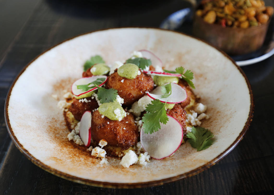 Elote Hushpuppies is seen at The Kitchen at Atomic in Las Vegas, Wednesday, July 11, 2018. Chitose Suzuki Las Vegas Review-Journal @chitosephoto