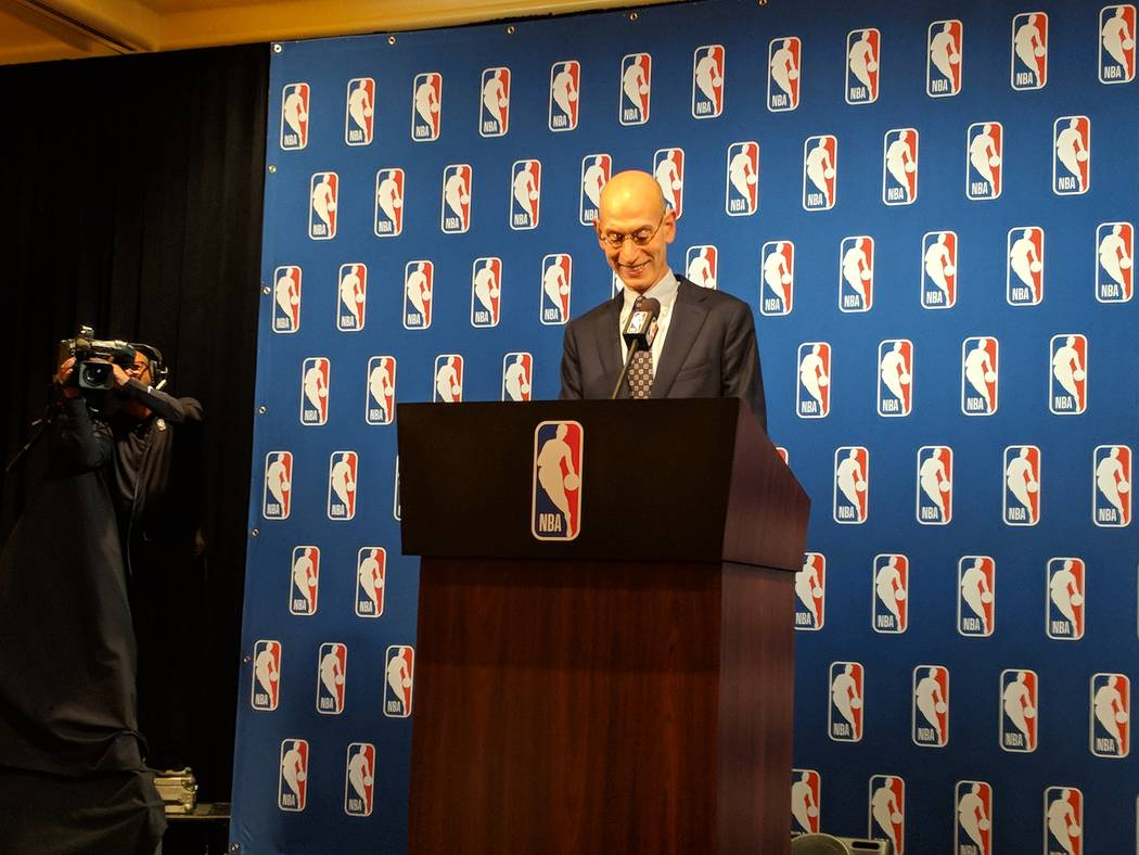 NBA commissioner Adam Silver prepares to address the media Tuesday at Encore. Photo by Mark Anderson/Las Vegas Review-Journal