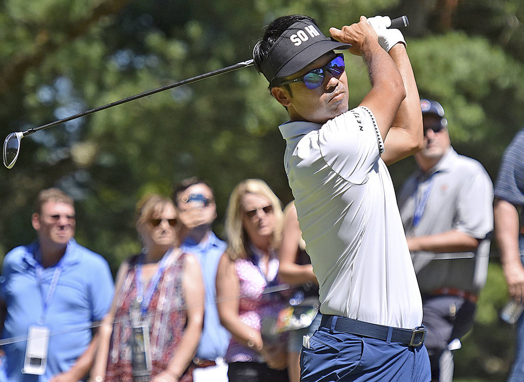 Kevin Na tees off on 9 during the Military Tribute PGA Tour Golf Tournament at the Greenbrier Sunday, July 8, 2018, in White Sulphur Springs, W. Va. (Brad Davis/The Register-Herald via AP)