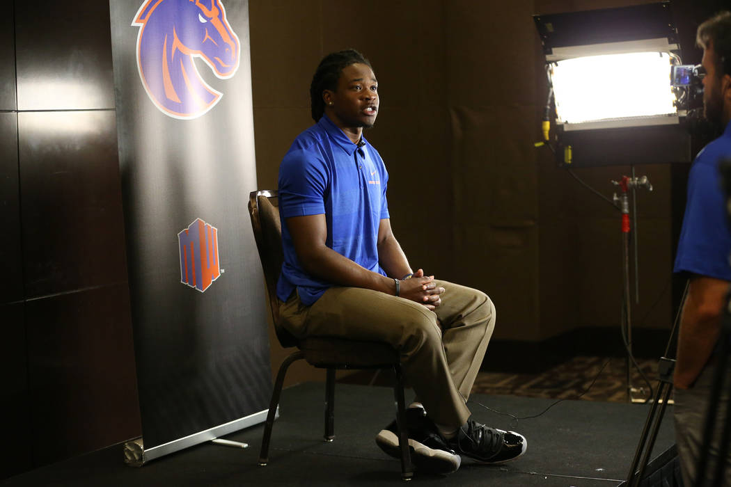 Boise State's Tyler Horton is interviewed during the Mountain West Conference football media day at the Cosmopolitan hotel-casino in Las Vegas, Tuesday, July 24, 2018. Erik Verduzco Las Vegas Revi ...