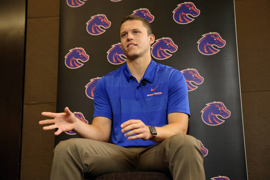 Boise State's Brett Rypien is interviewed during the Mountain West Conference football media day at the Cosmopolitan hotel-casino in Las Vegas, Tuesday, July 24, 2018. Erik Verduzco Las Vegas Revi ...