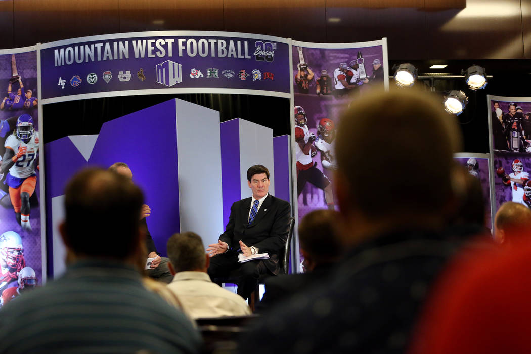 Commissioner Craig Thompson speaks during a press conference in the Mountain West Conference football media day at the Cosmopolitan hotel-casino in Las Vegas, Tuesday, July 24, 2018. Erik Verduzco ...
