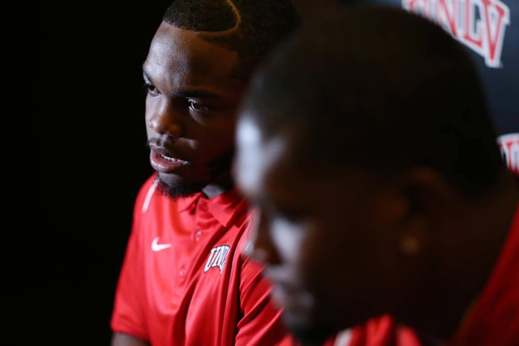UNLV's Lexington Thomas, left, is interviewed during the Mountain West Conference football media day at the Cosmopolitan hotel-casino in Las Vegas, Wednesday, July 25, 2018. Erik Verduzco Las Vega ...