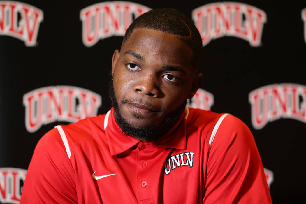 UNLV's Lexington Thomas is interviewed during the Mountain West Conference football media day at the Cosmopolitan hotel-casino in Las Vegas, Wednesday, July 25, 2018. Erik Verduzco Las Vegas Revie ...