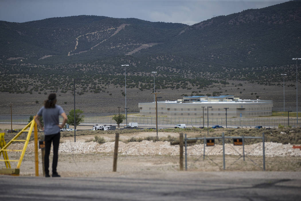 A man takes in a view of Ely State Prison ahead of the execution of Scott Dozier, slated for Wednesday, in Ely on Tuesday, July 10, 2018. Chase Stevens Las Vegas Review-Journal @csstevensphoto