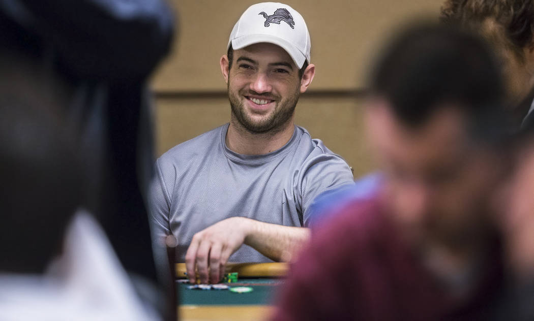 Joe Cada plays a hand during the World Series of Poker on Saturday, June 10, 2017, at the Rio hotel-casino, in Las Vegas. Benjamin Hager Las Vegas Review-Journal @benjaminhphoto