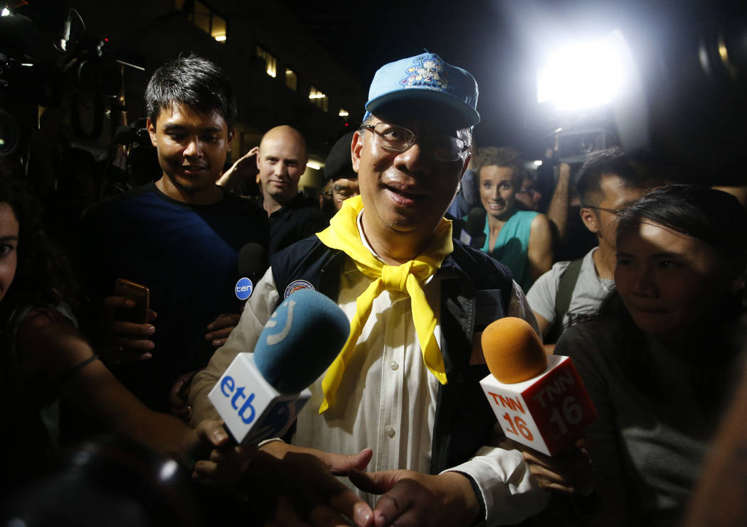 Chiang Rai province acting Gov. Narongsak Osatanakorn, who is leading the ongoing rescue operation of the soccer team and coach trapped in a flooded cave, talks to media during a press conference ...