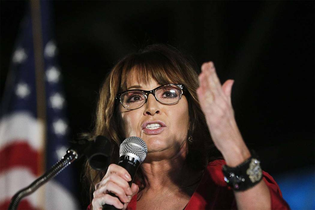 FILE - In this Sept. 21, 2017, file photo, former vice presidential candidate Sarah Palin speaks at a rally in Montgomery, Ala. (Brynn Anderson/AP)