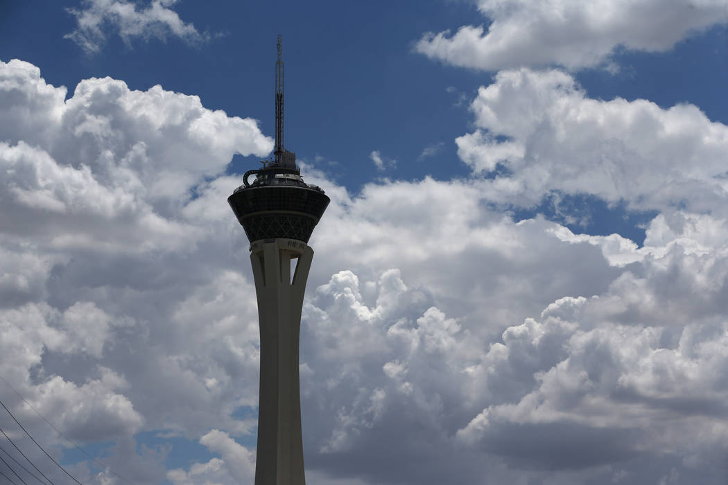 Cloud coverage above the Stratosphere in Las Vegas valley on Wednesday, July 11, 2018. Erik Verduzco Las Vegas Review-Journal @Erik_Verduzco