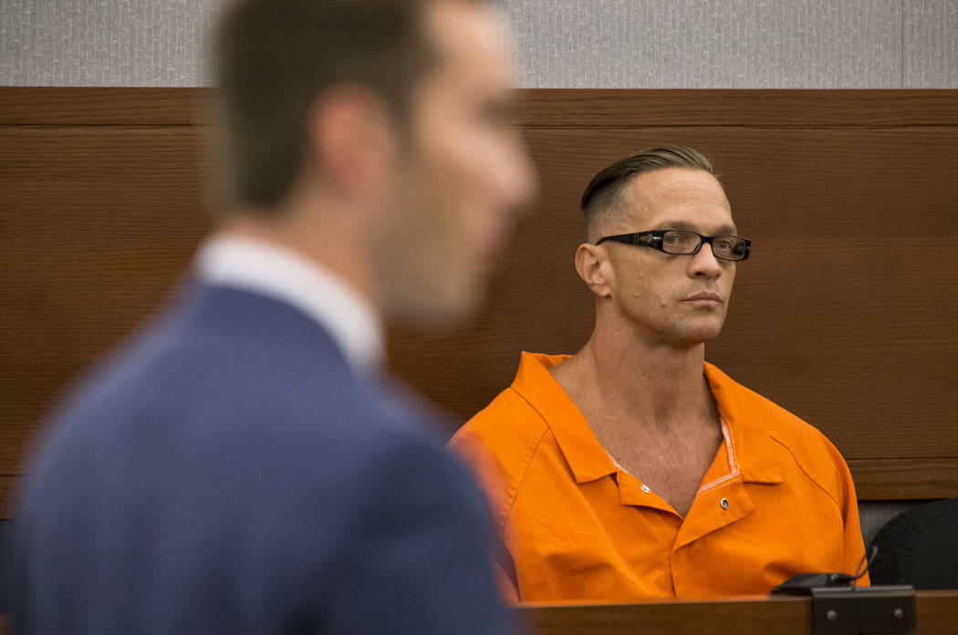 Death row inmate Scott Dozier appears before District Judge Jennifer Togliatti during a hearing about his execution at the Regional Justice Center on Sept. 11, 2017, in downtown Las Vegas. Richard ...