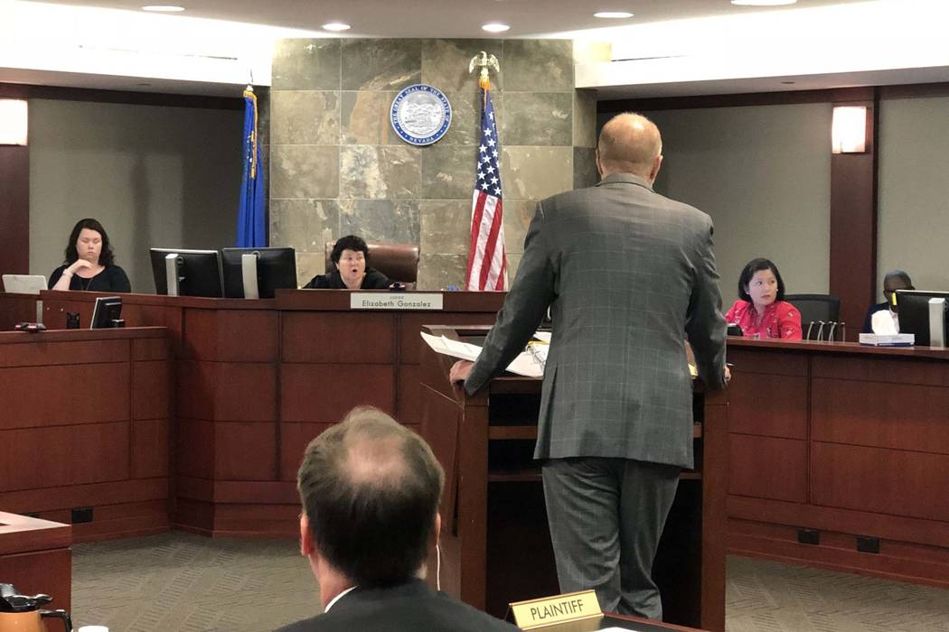 District Judge Elizabeth Gonzalez hears arguments in court on Wednesday, July 11, 2018, after a drug company filed a lawsuit that accused the Nevada Department of Corrections of surreptitiously ob ...