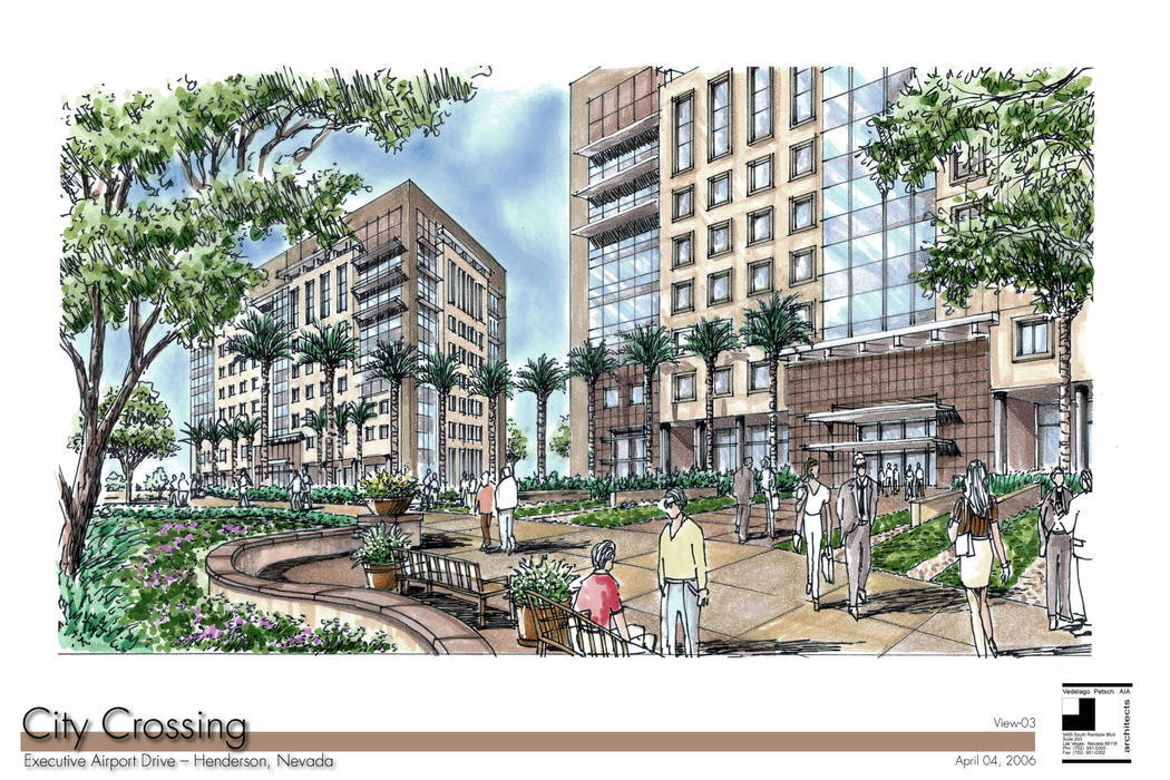 A rendering of the City Crossing mixed-use project is shown courtesy of Plise Development. The project broke ground in Nov. 2007, near the Henderson Executive Airport, and was scheduled to be comp ...