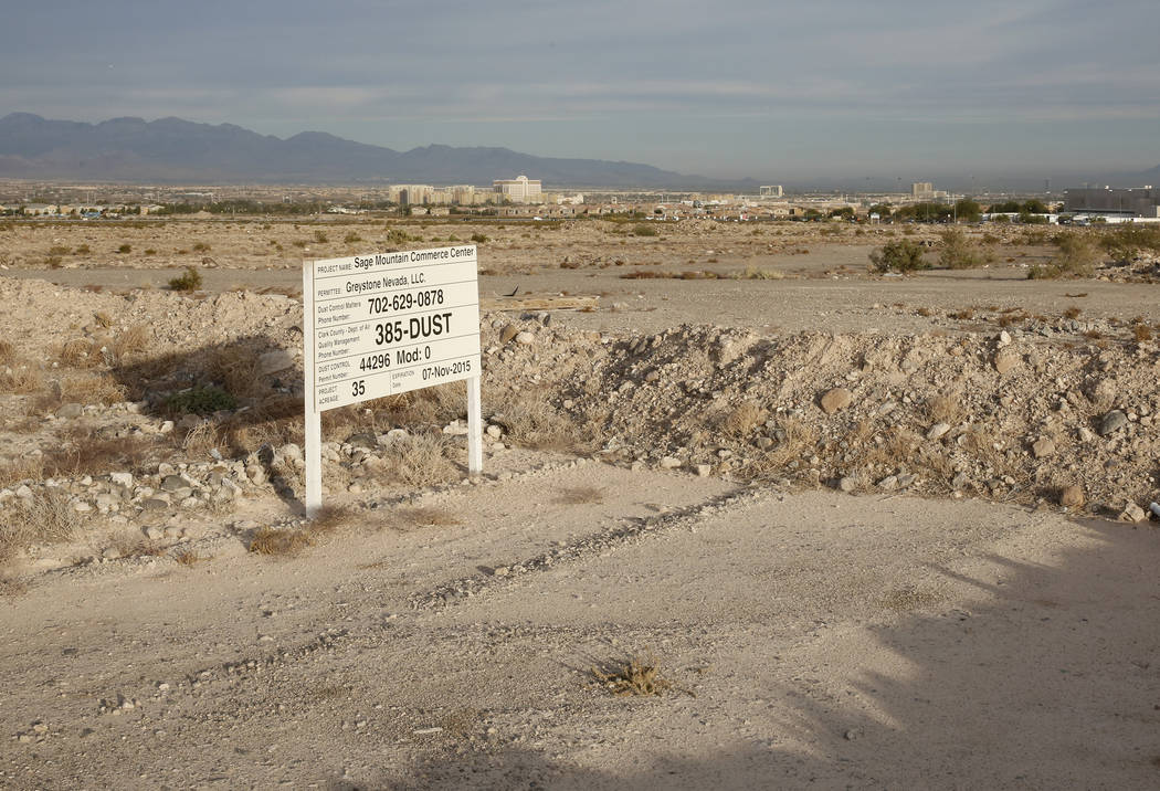 A 55-acre lot photographed on Wednesday, Nov. 15, 2017, in Henderson. Raiders are eyeing to build their new practice facility next to the Henderson Executive Airport. Bizuayehu Tesfaye Las Vegas R ...