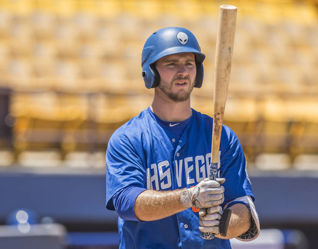 51s first baseman Peter Alonso (34) steps into the batters box during Las Vegas' home matchup with the Reno Aces on Sunday, June 24, 2018, at Cashman Field, in Las Vegas. Benjamin Hager Las Vegas ...