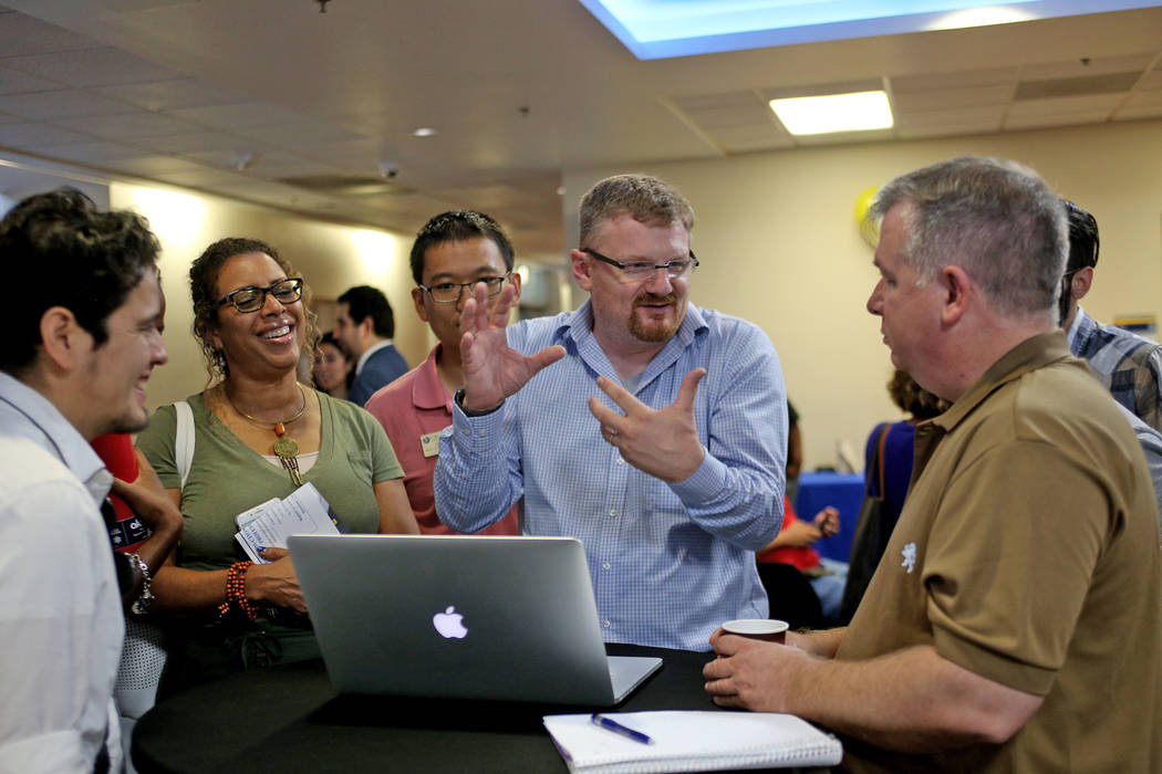 Joerg Radler, an engineer from Apple, talks about different apps that can help students learn coding with Swift, Apple's programming language, at the College of Southern Nevada in Las Vegas, Thurs ...