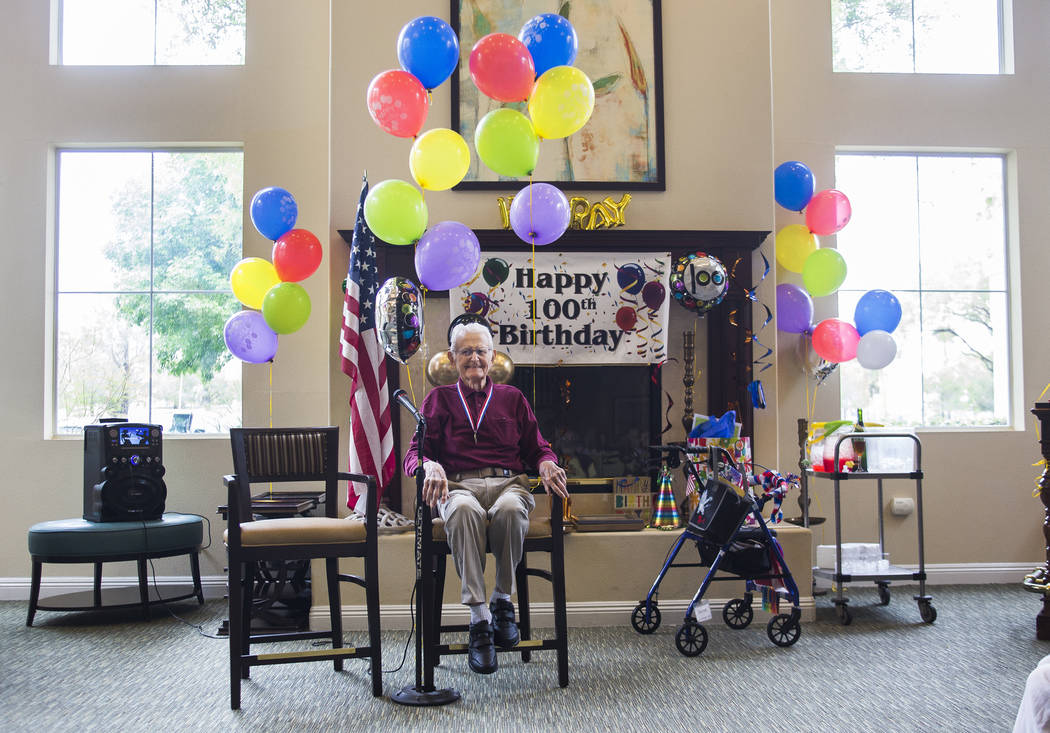 Gene Stephens at his 100th birthday party at Atria Seville Senior Living in Las Vegas, Thursday, July 12, 2018. Stephens is the last surviving member of the original Military Police Officers that ...
