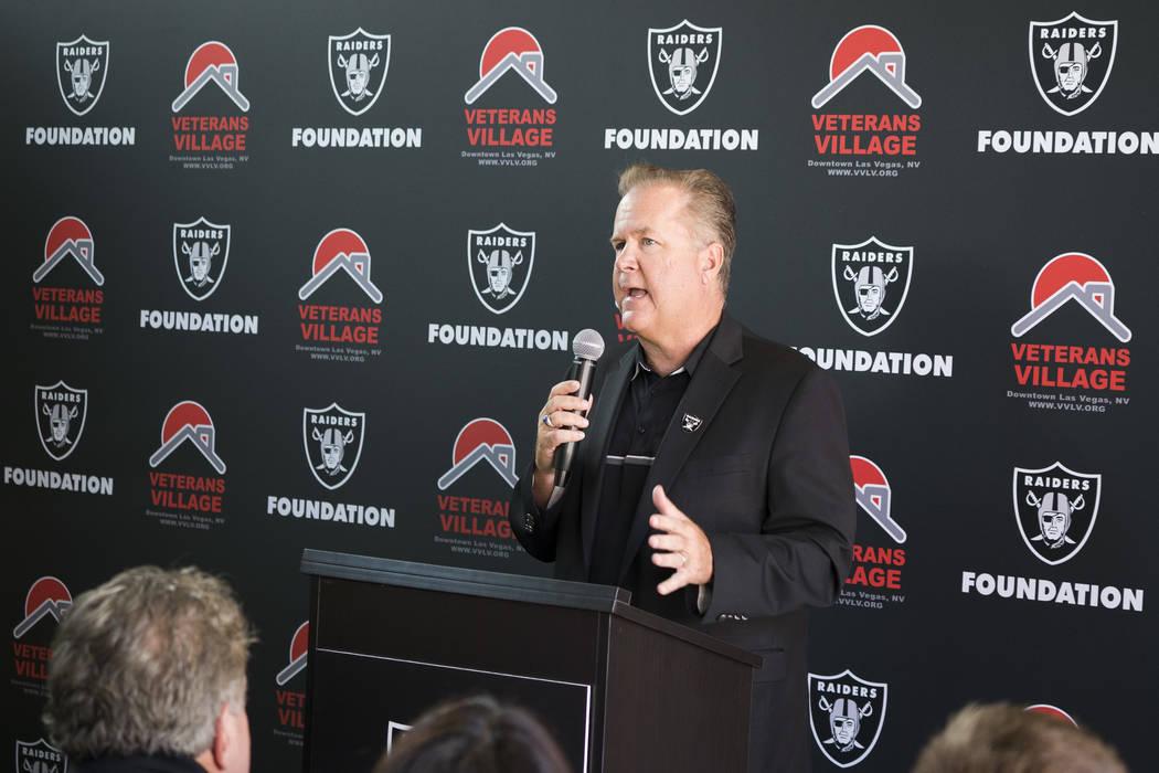 Fox Sports Radio host JT The Brick speaks to press at Veterans Village II in Las Vegas, Thursday, July 12, 2018. (Marcus Villagran/Las VegasReview-Journal) @brokejournalist
