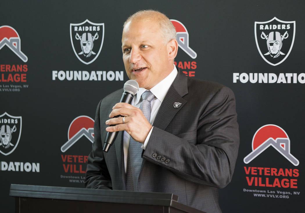 Raiders President Marc Badain talks about the donation to Veterans Village in Las Vegas, Thursday, July 12, 2018. (Marcus Villagran/Las Vegas Review-Journal) @brokejournalist