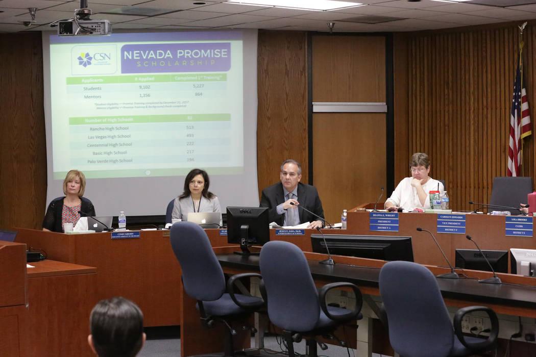 Cindy Krohn, executive assistant to the Clark County School District Board of Trustees, left, Elizabeth Carrero, secretary of superintendent, CCSD Superintendent Jesus Jara and Deanna L. Wright, t ...