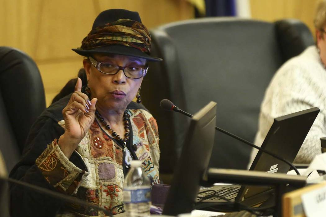 Clark County School District trustee Linda Young speaks during a CCSD Board of Trustees meeting at the County Government Center in Las Vegas on Thursday, March 22, 2018. Chase Stevens Las Vegas Re ...