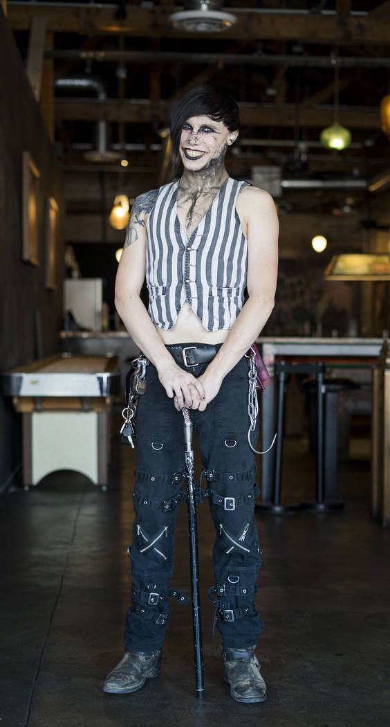 "Austin ""Auzzy Blood"" Punton, 22, sideshow performer, poses for a photo at Cornish Pasty Co. in Las Vegas, Tuesday, July 10, 2018. (Marcus Villagran/Las Vegas Review-Journal) @brokejournalist"