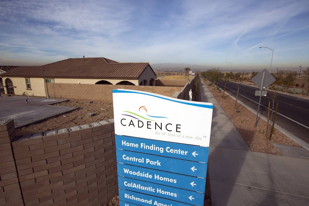 A location sign provides direction at Cadence, a 2,300-acre master-planned community in Henderson, in 2016. (Las Vegas Review-Journal File Photo)