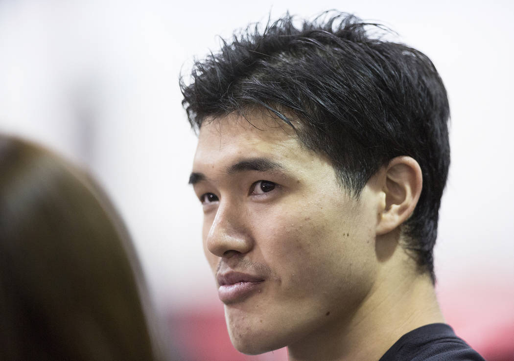 Nets forward Yuta Watanabe (42) addresses the media after Brooklyn's NBA Summer League game with the Minnesota Timberwolves on Monday, July 9, 2018, at Cox Pavilion, in Las Vegas. Benjamin Hager L ...