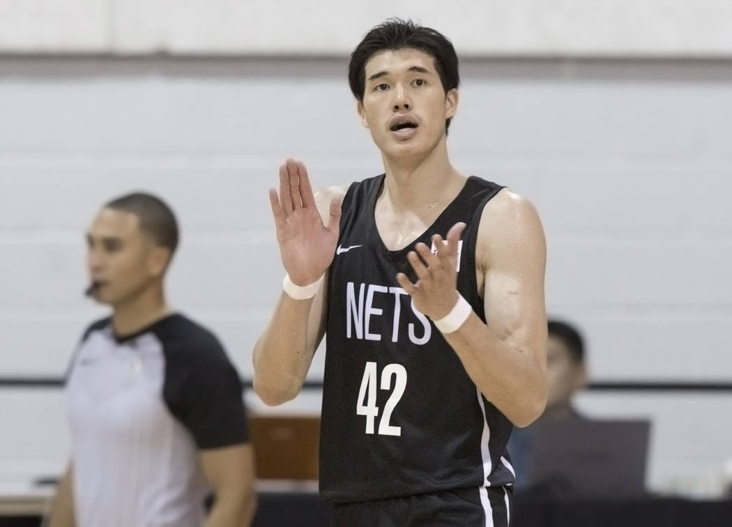 Nets forward Yuta Watanabe (42) cheers for a teammate during Brooklyn's NBA Summer League game with the Minnesota Timberwolves on Monday, July 9, 2018, at Cox Pavilion, in Las Vegas. Benjamin Hage ...