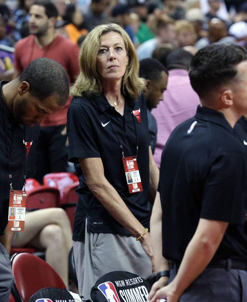 The Chicago Bulls Summer League associate coach Karen Umlauf at the Thomas and Mack Center during an NBA Summer League basketball game between the Lakers and the Chicago Bulls on Sunday, July 8, 2 ...