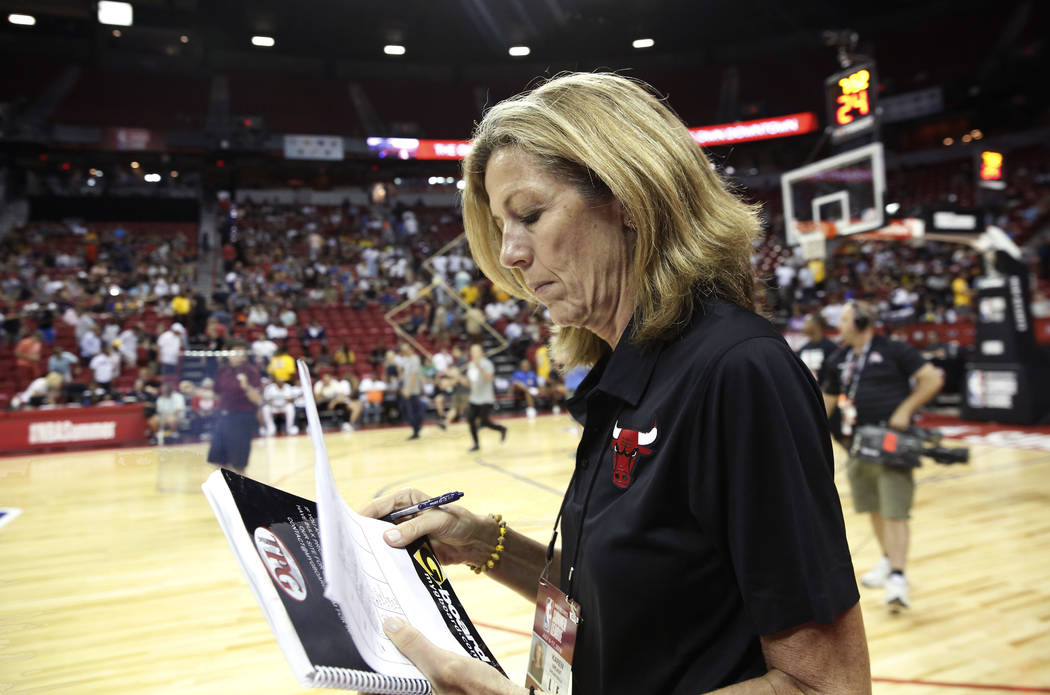 The Chicago Bulls Summer League associate coach Karen Umlauf leaves the court at the Thomas and Mack Center during an NBA Summer League basketball game between the Lakers and the Chicago Bulls on ...