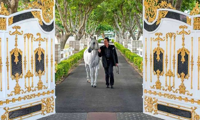 Wayne Newton is shown at the gated entrance of Casa de Shenandoah, which has been closed to the public effective Tuesday, July 10, 2018. (Wayne Newton's Casa de Shenandoah)