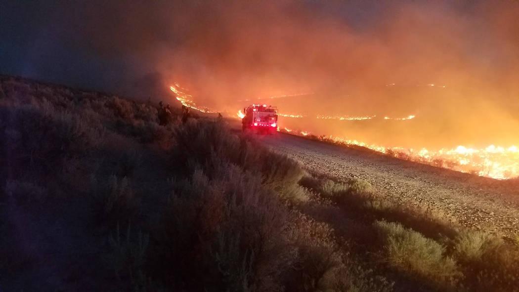 The Martin Fire burning in Northern Nevada in July 2018. (Sebastian Christiansen, Sawtooth IHC via Bureau of Land Management)
