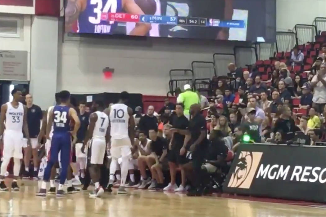 Minnesota challenges a jump-ball call in the fourth quarter of Wednesday's loss to the Pistons during the NBA Summer League. (Justin Emerson/Las Vegas Review-Journal)