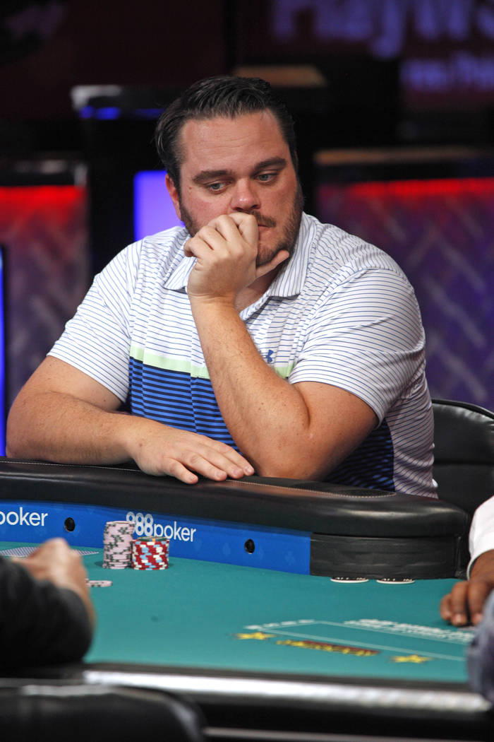 Frederik Brink on the seventh day of the World Series of Poker at the Rio Convention Center in Las Vegas, Wednesday, July 11, 2018. By the end of the night there will be only nine players left. Ra ...