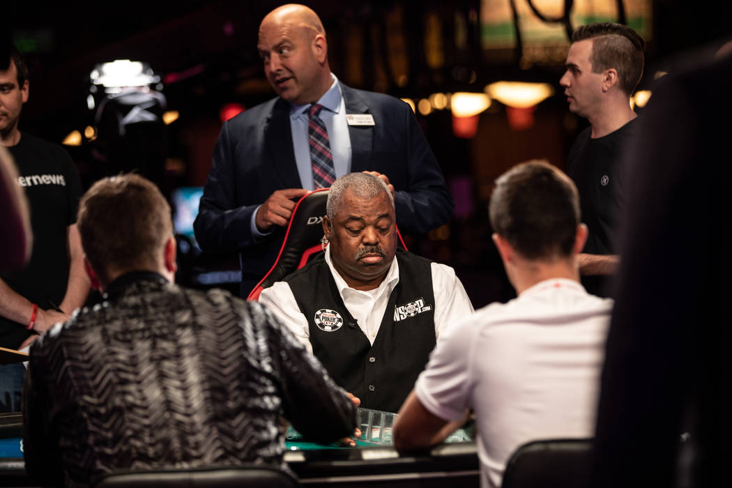 Tournament Director Charlie Ciresi (center background) monitors a game at WSOP dealt by Daniel Harris at the Rio in Las Vegas on Wednesday, July 11, 2018. (Todd Prince/ Las Vegas Review-Journal)