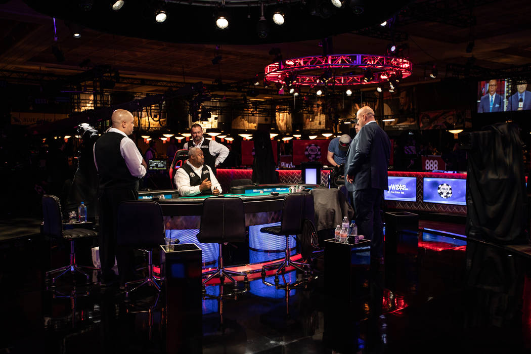 Daniel Harris prepares to deal a game at the World Series of Poker at the Rio in Las Vegas on Wednesday, July 11, 2018. (Todd Prince/ Las Vegas Review-Journal)
